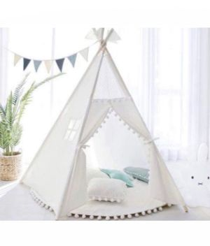 White Pompom Teepee Package with Poles, Floor Mat, pillow, Window, Pocket, LED star lights etc for Sale in Los Angeles, CA