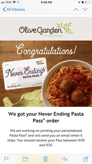 Selling olive garden never ending pass 9 weeks for Sale in Palm Harbor, FL