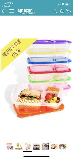 Bento Lunch Box | Meal Prep Containers | 7 Pack | Leak Proof | Reusable 3-Compartment Plastic Divided Food Storage Container Boxes for Kids & Adults for Sale in Rowland Heights, CA