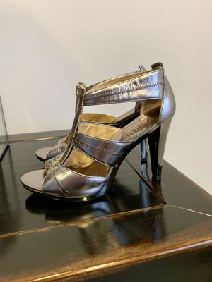Michael Kors silver zip up heels for Sale in Barnstable, MA
