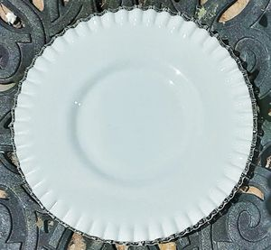 "Fenton SILVERCREST ruffled milk glass 12.25"" D platter with clear rim for Sale in Saginaw, MI"
