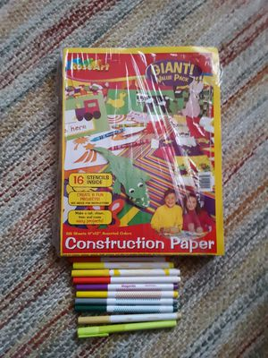 Construction paper /stencils and markers for Sale in Waterloo, IA