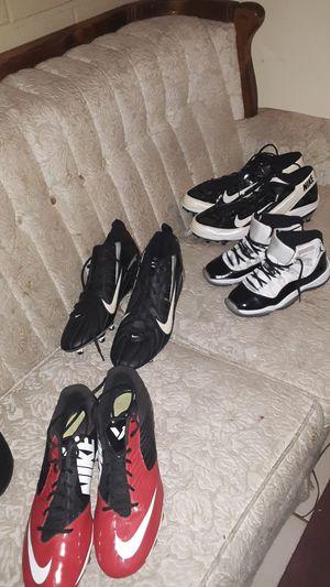 Shoes nikes 1 pair of jordans 3 pair of boots 3 pair of boots 1 sandal and 3 pair of cleates and a pair of jordans for Sale in Glendale, AZ