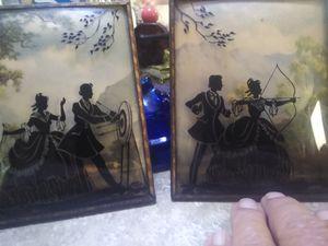 2 Antique Convex glass Silhouette Picture for Sale in Piedmont, SC