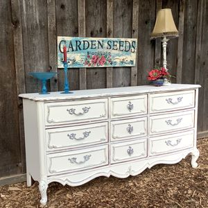"""""""Shabby Chic"""" 9 Drawer Top Of The Line Dresser By Basset for Sale in Hillsboro, OR"""