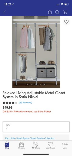 Relaxed Living Adjustable Metal Closet Organizer System in Satin Nickel for Sale in Bloomfield, NJ