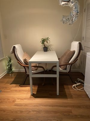 Wooden & white leather chairs for sale good condition for Sale in Baltimore, MD