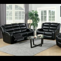 Oniks Black Reclining Sofa & Loveseat & Recliner 🔴$39 DOWN Payment Only 100 DAY same as cash for Sale in Philadelphia,  PA