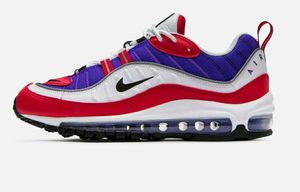 Nike Air Max 98 Raptors Purple Red Running Shoes Women's Sizes 7.5, 8 & 9.5 Style Code: AH6799-501 for Sale in Commerce City, CO