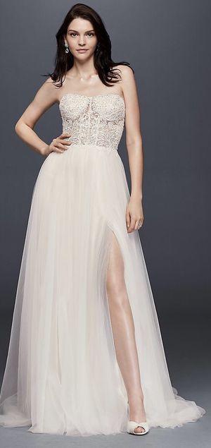 Brand New, Never Worn Strapless Wedding Dress with Tulle Slit Skirt! for Sale in Fairfax, VA