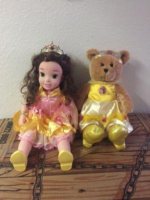 Disney princess belle doll and belle teddy bear stuffed animal for Sale in Herndon, VA