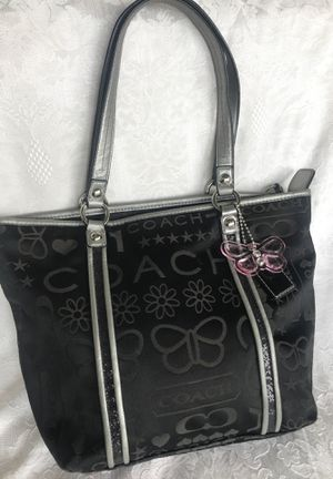 Coach Butterfly 🦋 Black Metallic Silver Tote Bag F15709 for Sale in Winter Springs, FL