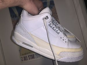 Nike Air Jordan 3 pure white used size 10 for Sale in Ontario, CA
