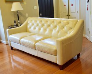 Chateau d'Ax Leather Sofa - Pearl for Sale in Rockville, MD