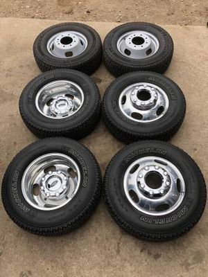 Like new Ford F-350 Rims And Michelin tires Dually F350 Wheels F 350 Dully Rines y Llantas Oem factory's factory original Take offs off takeoffs pull for Sale in Dallas, TX