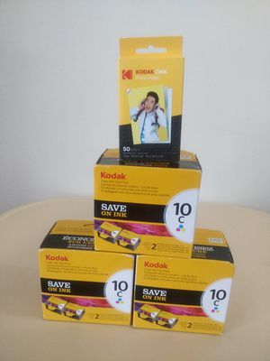 """(3 pieces) 2-Pack Kodak 10C color Ink Cartridge + 50 Sheets paper 2x3"""" for Sale in Marshall, TX"""