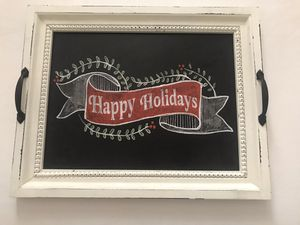 Happy Holidays tray. Place on your counter or on a ottoman for a touch of the holiday feel. It's so beautiful ! for Sale in Pembroke Pines, FL