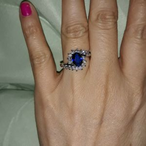 925 Sterling Silver Blue Sapphire Engagement Ring, Size 6. for Sale in Dallas, TX
