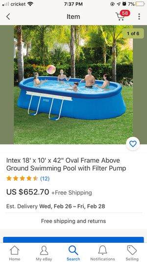 """Intex 18' x 10' x42"""" oval frame above ground swimming pool with filter pump latter,floor mat,pool cover for Sale in Las Vegas, NV"""