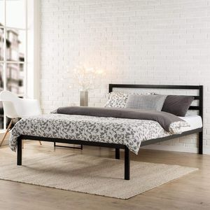 New King Platform Metal Bed Frame With Headboard $95 or $275 with memory foam mattress for Sale in Columbus, OH