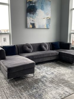 """132"""" Velvet Symmetrical Modular Sofa & Chaise with matching rug and painting for Sale in Quincy,  MA"""
