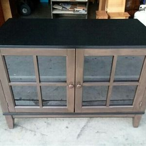 NICE RUSTIC STYLE TV STAND IN ESPRESSO COLOR WITH BLACK TOP. for Sale in City of Industry, CA