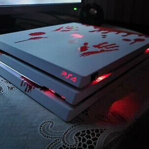 Custom White and Red Playstation 4 PS4 PRO 5TB Harddrive and Red LED's installed for Sale in Pasadena, CA
