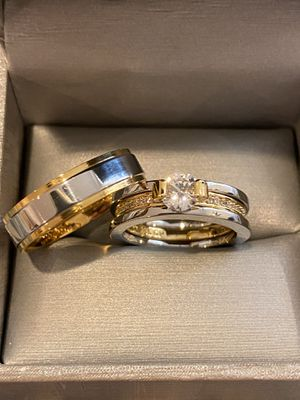 18K Gold plated Engagement/Wedding Matching Ring Set- Code KX101 for Sale in Dallas, TX