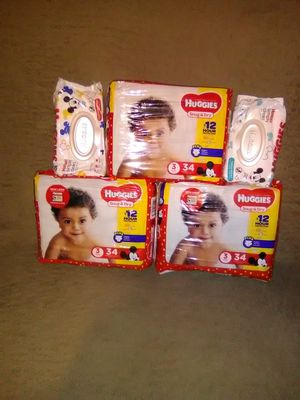 HUGGIES 3 packs size 3 and 2 packs wipes for Sale in West Palm Beach, FL