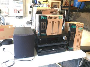 Stereo Surround Sound with Subwoofer and 5 speakers, receiver, and DVD player for Sale in Corona, CA