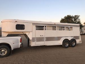 '87 custom B and B, 4 horse-slant, gooseneck trailer with front sleeper and rear storage for Sale in Waddell, AZ