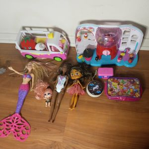 Girls Toys Mermaid Barbies And Shopkins for Sale in Huntington Beach, CA