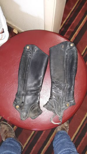 TS leather zip up half chaps for Sale in Christiansburg, VA