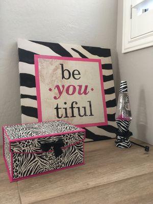 Zebra wall art, lava lamp, storage box for Sale in Gilbert, AZ