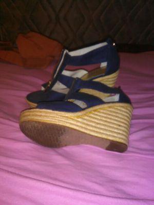Size 7 Michale Kors navy blue Damita wedges sandals for Sale in Salt Lake City, UT