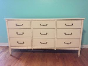 Vintage Cream faux bamboo dresser! for Sale in Tampa, FL