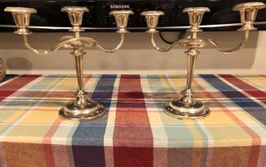 Vintage 3 Candle Silverplated Candelabra (2) for Sale in Rockville, MD