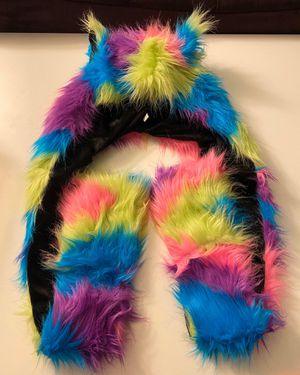 Faux Fur Blue, Pink, Purple, & Yellow Animal Hood Hoodie w/Built In Mittens for Sale in Las Vegas, NV