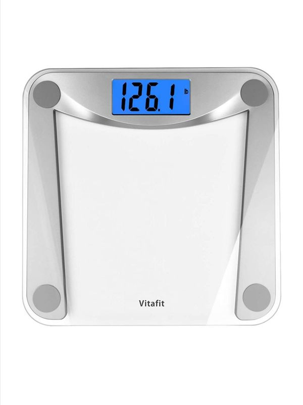 Digital Body Weight Bathroom Scale Weighing Scale with Step-On Technology,Extra Large Blue Backlit Display, 400 Pounds,Clear Glass