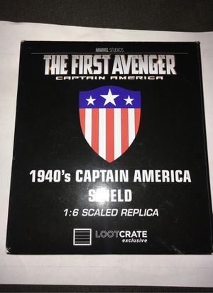 Metal MARVEL STUDIOS CAPTAIN AMERICA THE FIRST AVENGER 1940's CAPTAIN AMERICA SHIELD 1:6 SCALED REPLICA LOOTCRATE EXLUSIVE for Sale in Santee, CA
