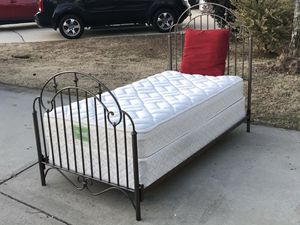 Gorgeous Twin Size Bed with a Metal Head and Footboard, Side rails, Bassett Mattress and Boxspring. Excellent condition. for Sale in Raleigh, NC