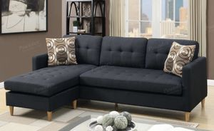 Black sectional sofa mid sectional modern style for Sale in El Monte, CA