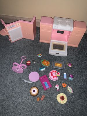 Barbie doll house 26 piece accessories food pretend store/market/bakery play set for Sale in Groveport, OH