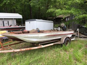 Fiberglass bass boat, mercury motor and trailer for Sale in Camden, AR