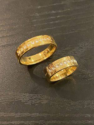 18K Gold plated Matching Ring Set - Round Cut Diamonds for Sale in Indianapolis, IN