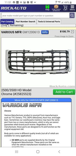 GMC Sierra 2500/3500 Chrome Grill Front Bumper Cover for Sale in Lyndhurst, OH