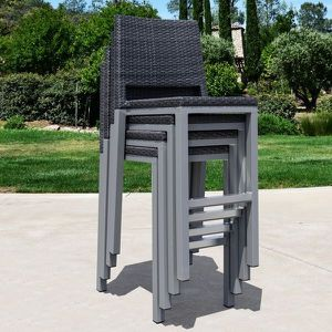 Outdoor Patio Furniture Set of 4 Black Wicker Bar Stools for Sale in Monroe, CT