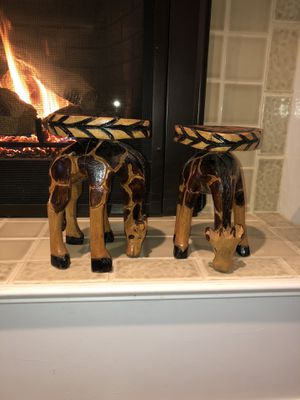 Giraffe stools wood carved for Sale in Seattle, WA