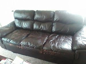 Leather Chocolate Brown couch and sofa! for Sale in Bellevue, IL