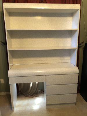 Formica Bedroom Set: Dresser with Hutch, Night Table, Queen Headboard for Sale in Oviedo, FL